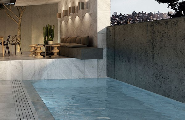 Roca Polar, the quartz-inspired extruded tile that is perfect for modern swimming pools